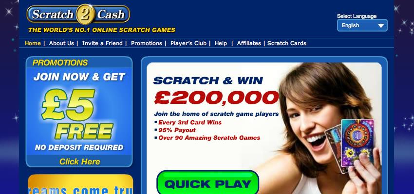 £5 Free No Deposit Scratch Cards